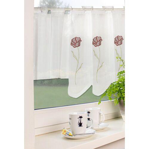 EXPERIENCE Scheibengardine »Kurzgardine Küchengardine Bistrogardine 2218 45x140 cm Rose Weiß Scheibengardine«, , Schlaufen (1 Stück), Stickerei Rose