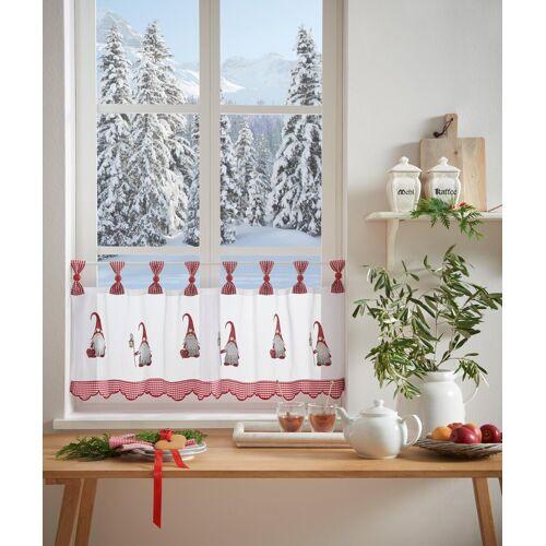 my home Scheibengardine »WICHTEL«, , Schlaufen (1 Stück), mit Schlaufenaufhängung, für die Küche, rot