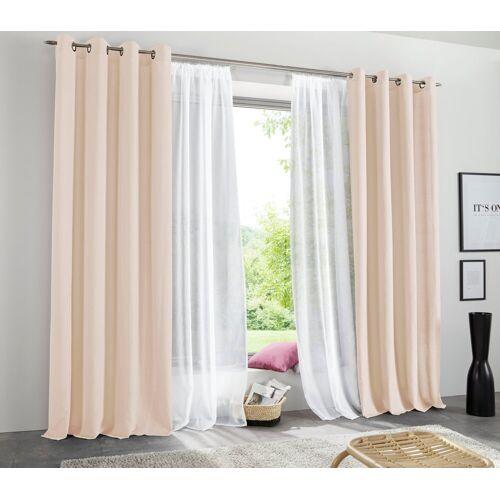 my home Vorhang »Raja«, , Ösen (2 Stück), Gardine, Fertiggardine, blickdicht, sand