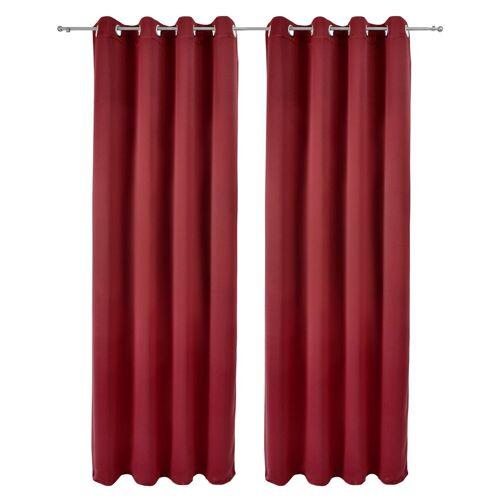 Beautissu Vorhang »Amelie Nora«, , 2er Set Ösenschal Verdunkelungsvorhang 140x245cm, Rot