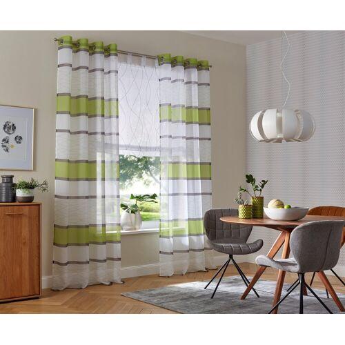 my home Gardine »Jay«, , Ösen (2 Stück), Vorhang, Fertiggardine, transparent, grün