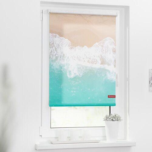 LICHTBLICK Seitenzugrollo »Rollo Klemmfix, ohne Bohren, blickdicht, The Beach - Türkis Beige«, , blickdicht, freihängend