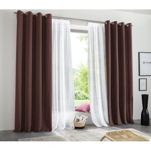 my home Vorhang »Raja«, , Ösen (2 Stück), Gardine, Fertiggardine, blickdicht, braun