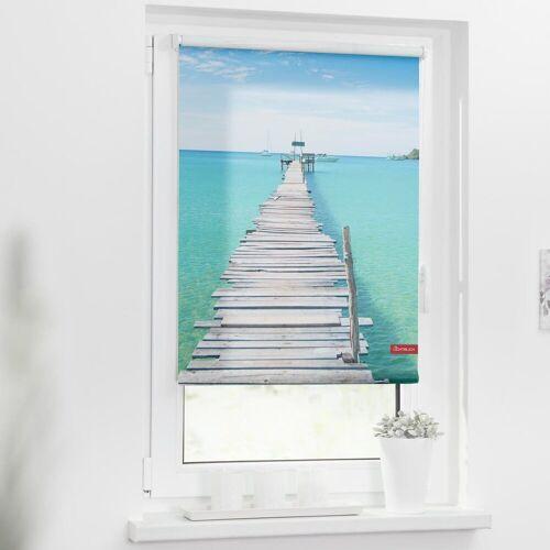 LICHTBLICK Seitenzugrollo »Rollo Klemmfix, ohne Bohren, blickdicht, El Mar - Blau«, , blickdicht, freihängend