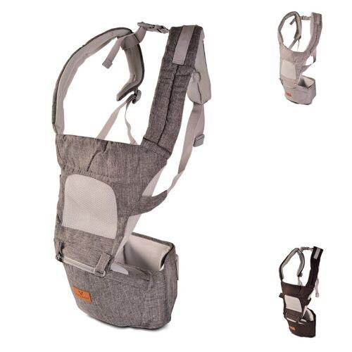 Cangaroo Babytrage »Babytrage I Carry 5 in 1«, Bauch- Rückentrage abnehmbarer Sitz, Gürtel, grau