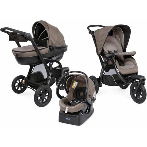 Chicco Kombi-Kinderwagen »Trio-System Activ3 Top, Dark Beige«, mit Regenschutz; Kinderwagen