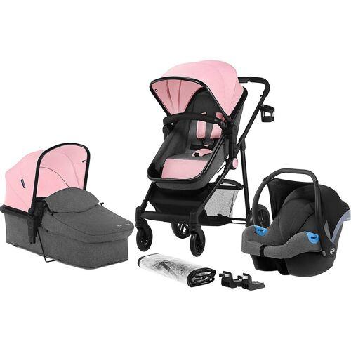 Kinderkraft Kombi-Kinderwagen »Kombi Kinderwagen JULI, 3 in 1, denim«, pink