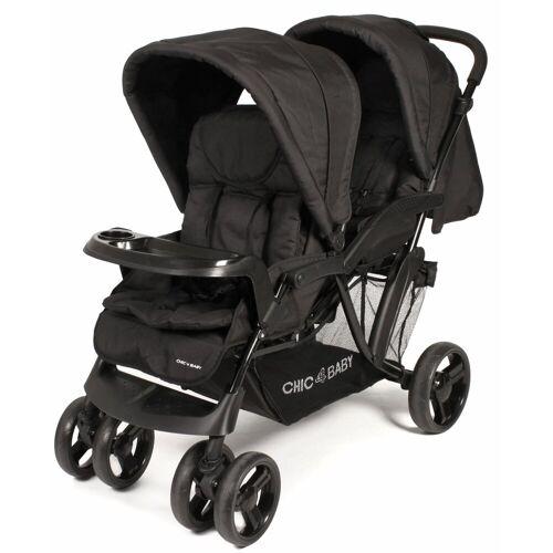 CHIC4BABY Geschwisterwagen »Doppio, schwarz«, mit Regenschutz; Kinderwagen, Kinderwagen für Geschwister; Geschwisterkinderwagen