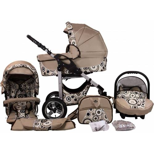 bergsteiger Kombi-Kinderwagen »Capri, beige circles, 3in1«, (10-tlg), Made in Europe; Kinderwagen