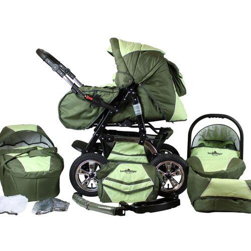bergsteiger Kombi-Kinderwagen »Milano, dark green, 3in1«, (10-tlg), Made in Europe