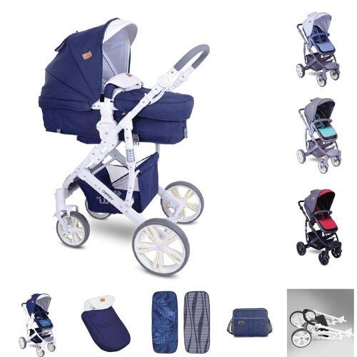Lorelli Kombi-Kinderwagen »Kombikinderwagen Verso 2 in 1«, verstellbarer Schiebegriff Fußsack, Tasche, blau