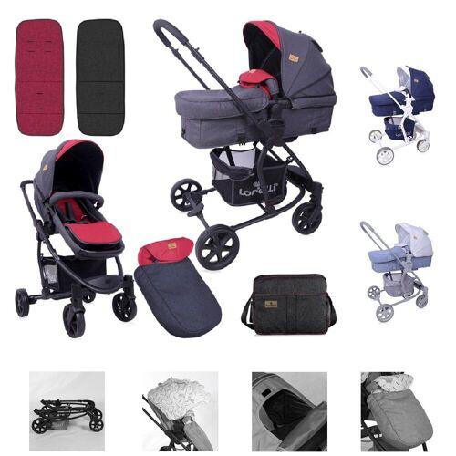 Lorelli Kombi-Kinderwagen »Kombikinderwagen Aster 2 in 1«, Schwenkräder, Fußsack, Tasche, Sonnendach, rot