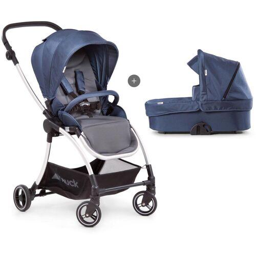 Hauck Kombi-Kinderwagen »Eagle 4S Duoset, denim/grey«, mit Babywanne, Fußsack und Moskitonetz