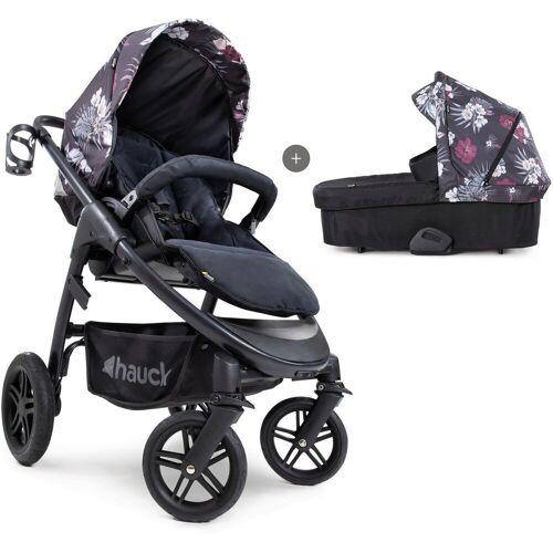 Hauck Kombi-Kinderwagen »iPro Saturn R Duoset, wild blooms black«, inkl. Babywanne und Beindecke; Kinderwagen