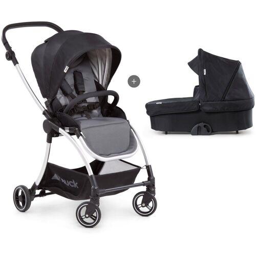 Hauck Kombi-Kinderwagen »Eagle 4S Duoset,black/grey«, mit Babywanne, Fußsack und Moskitonetz