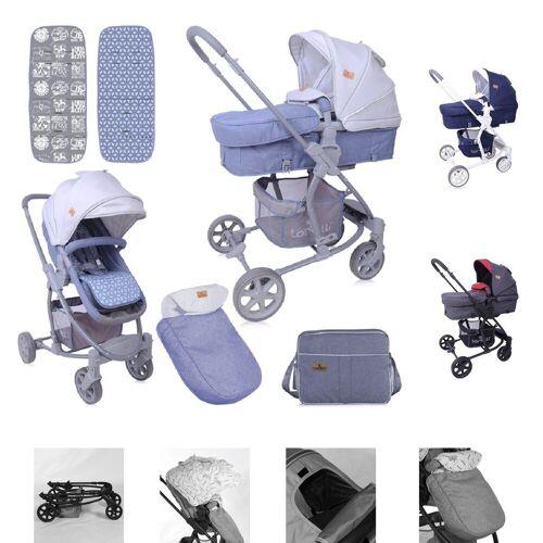 Lorelli Kombi-Kinderwagen »Kombikinderwagen Aster 2 in 1«, Schwenkräder, Fußsack, Tasche, Sonnendach, grau