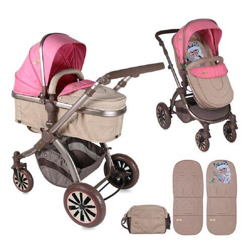 Lorelli Kombi-Kinderwagen »Kombikinderwagen Aurora 2 in 1«, faltbar einstellbar Fußabdeckung Tasche, rosa