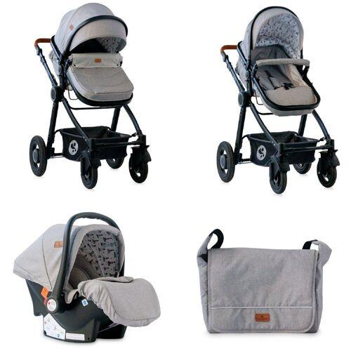 Lorelli Kombi-Kinderwagen »Kombikinderwagen Alexa 3 in 1«, Gummiräder Babyschale Sitzeinheit Fußsack, hellgrau