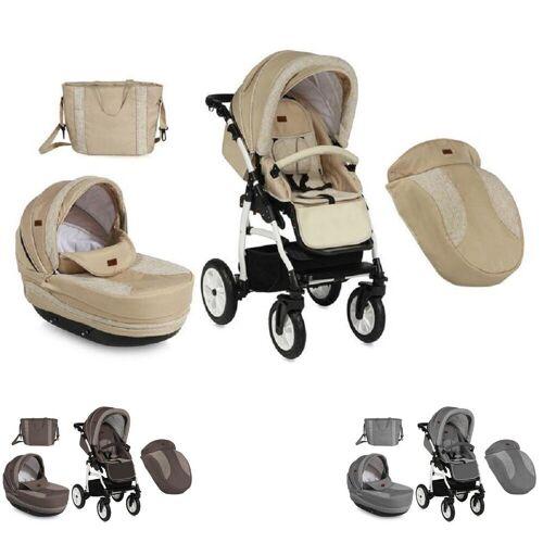 Lorelli Kombi-Kinderwagen »Kinderwagen 2 in 1 KARA«, Luftreifen, Federung, Regenschutz, Wickeltasche, beige