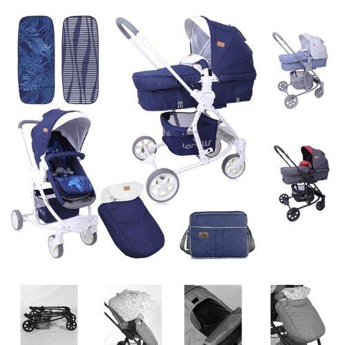 Lorelli Kombi-Kinderwagen »Kombikinderwagen Aster 2 in 1«, Schwenkräder, Fußsack, Tasche, Sonnendach, blau