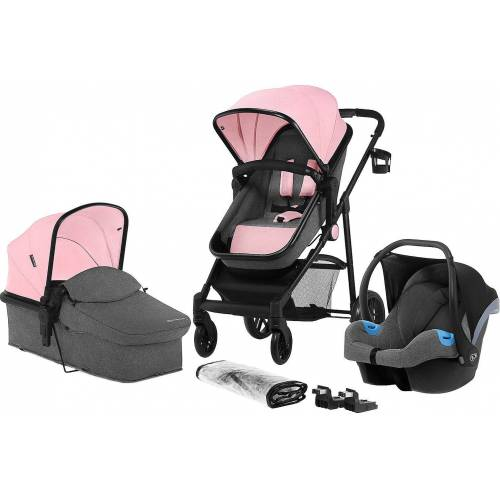 Kinderkraft Kombi-Kinderwagen »Kombi Kinderwagen JULI, 3 in 1, denim«, pink