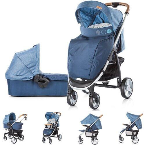 Chipolino Kombi-Kinderwagen »Kinderwagen Avenue 2 in 1«, Ein-Hand-Faltsystem, Babywanne, Sportaufsatz, blau