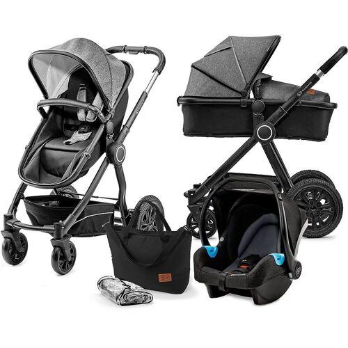 Kinderkraft Kombi-Kinderwagen »Kombi Kinderwagen Veo, 3in1, grey«, schwarz/grau
