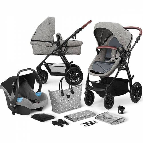 Kinderkraft Kombi-Kinderwagen »Kinderwagen Xmoov, multifunktional, 3in1, denim«, grau