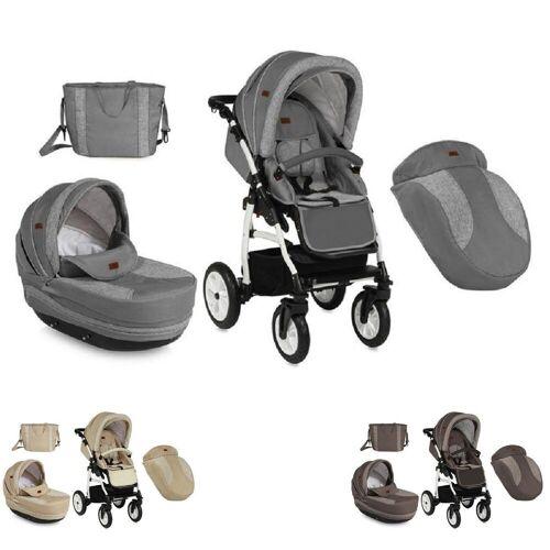 Lorelli Kombi-Kinderwagen »Kinderwagen 2 in 1 KARA«, Luftreifen, Federung, Regenschutz, Wickeltasche, grau