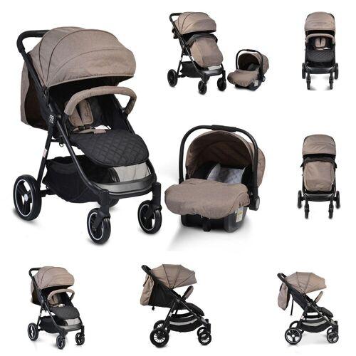 Moni Kombi-Kinderwagen »Kinderwagen, Babyschale Sindy 2 in 1«, klappbar, Babyschale 0+, Vorderräder schwenkbar, beige