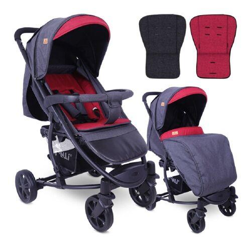 Lorelli Kombi-Kinderwagen »Kinderwagen Buggy S300«, klappbar Fußsack schwenkbare Vorderräder Korb, rot