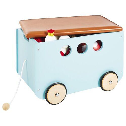 Pinolino® Aufbewahrungsbox »Spielzeugkiste mit Rollen 'Jim', weiß«, mint