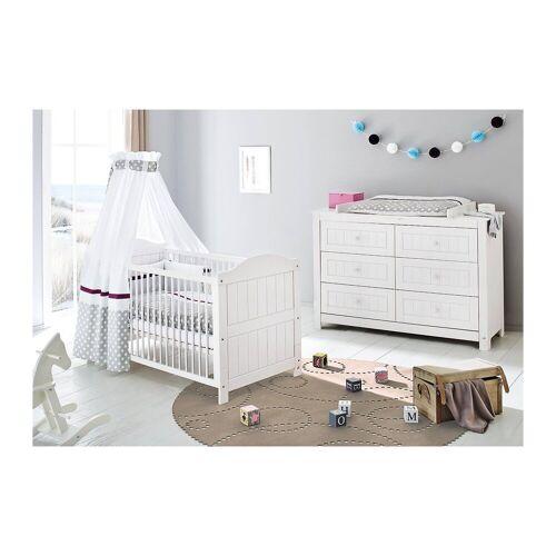 Pinolino® Sparset NINA extrabreit, (Kinderbett und extrabreite Wickelk, weiß