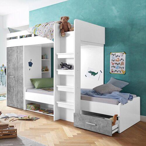 Hochbett mit 2 Liegeflächen, Kleiderschrank und Regalen