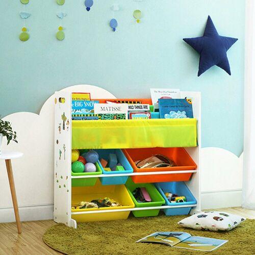 SONGMICS Aufbewahrungsbox »GKR03W«, Standregal Kinderregal Bücherregal Aufbewahrungsregal mit 6 Boxen All-in-1