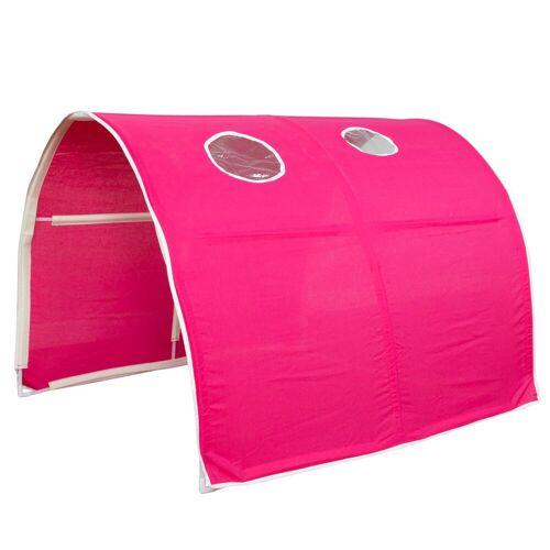 Homestyle4u Betttunnel, Tunnel Zelt Bettzelt Bettdach Spieltunnel, pink