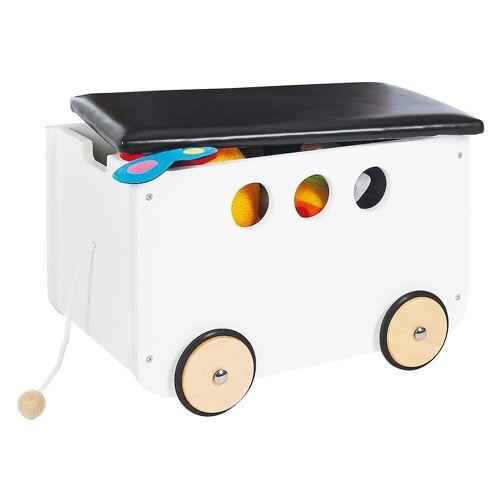Pinolino® Aufbewahrungsbox »Spielzeugkiste mit Rollen 'Jim', weiß«, weiß