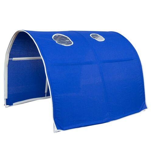 Homestyle4u Betttunnel, Tunnel Zelt Bettzelt Bettdach Spieltunnel, blau