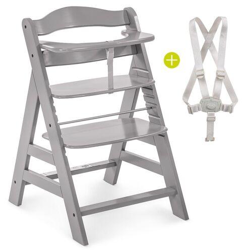 Hauck Hochstuhl »Alpha Plus - Grey« Mitwachsender Holz Treppenhochstuhl mit Schutzbügel und Gurt