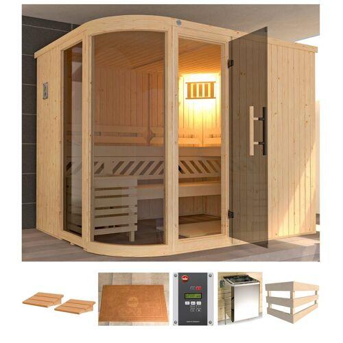 weka Sauna »Sara 2«, BxTxH: 244 x 194 x 199 cm, 68 mm, 9 kW Ofen mit ext. Steuerung