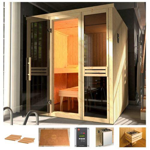 weka Sauna »Classic«, BxTxH: 177 x 194 x 199 cm, 68 mm, 7,5 kW Ofen mit ext. Steuerung, Fenster