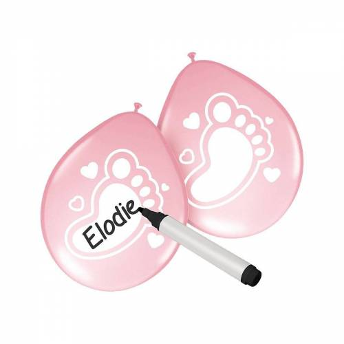Folat Luftballon »Luftballons Baby blau 30 cm, 6 Stück«, rosa