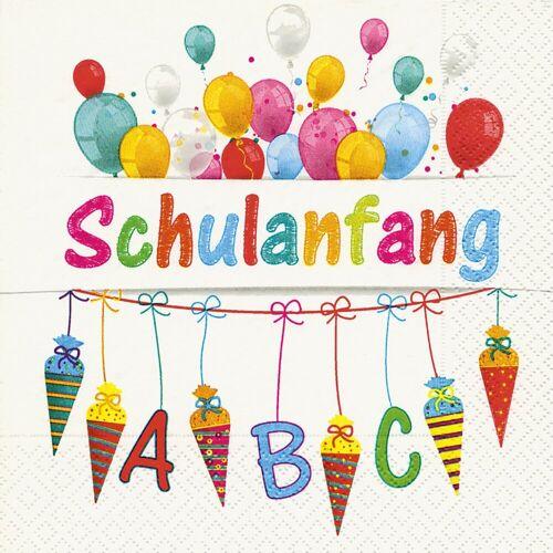 Paper+Design Papierserviette »Schulanfang«, (20 St), 33 cm x 33 cm