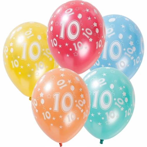 Folat Zahlenluftballon 10, 5 Stück