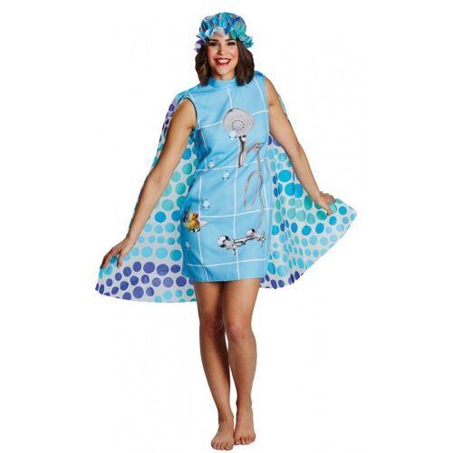 Witzige Duschkabine Damenkostüm, blau-bunt