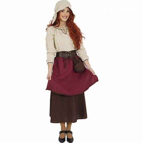 Mittelalter Magd Mattilda Damenkostüm, rot-beige
