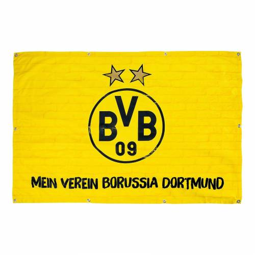 Balkonfahne BVB, Mein Verein Borussia Dortmund, 100 x 150 cm, gelb