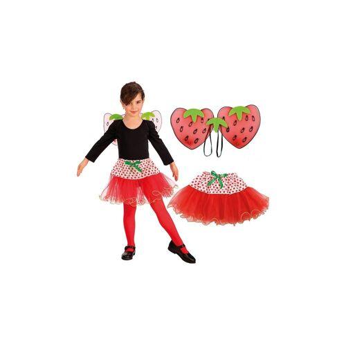 Erdbeere-Set (Flügel, Rock), 2-tlg.