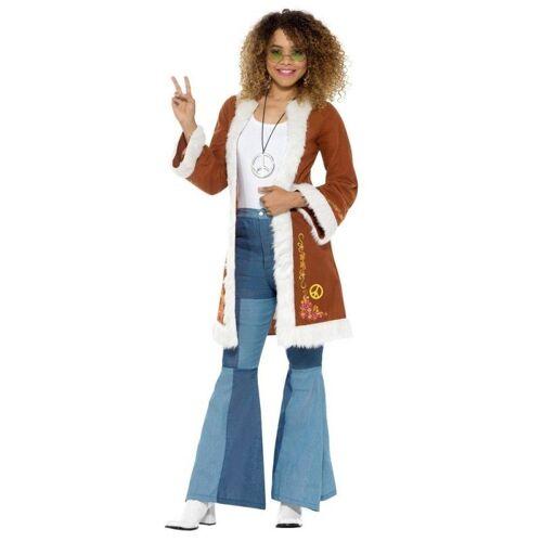 70er Jahre Retro Hippie Mantel für Damen, braun