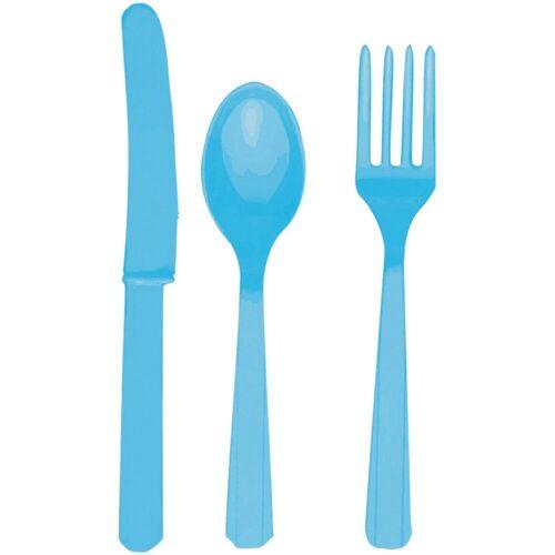 Amscan Besteck (8 Messer, 8 Löffel, 8 Gabeln) azurblau